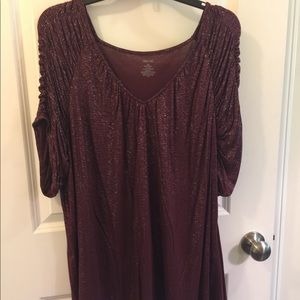 Sparkle burgundy JLo shirt